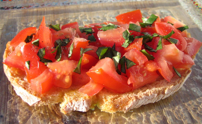 recette de la bruschetta tartine italienne la tomate. Black Bedroom Furniture Sets. Home Design Ideas